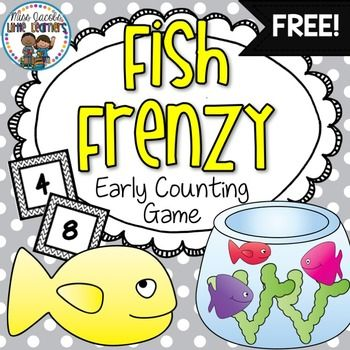 This is a great game to promote those early counting skills and number recognition. Children pick a number card and fill their fish bowls with the correct amount of fish. Early years number skills | early counting game | free game | miss jacobs little learners