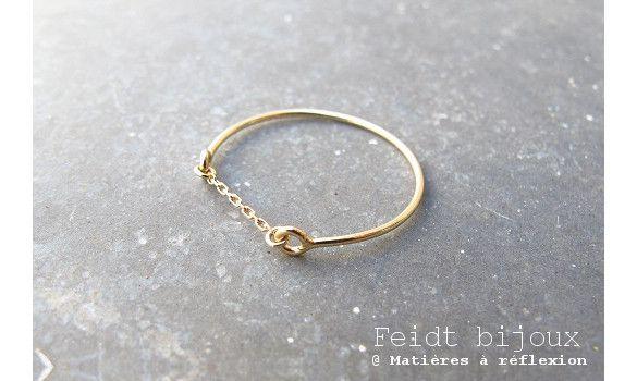 Feidt bijoux bague chaine or jaune 9k