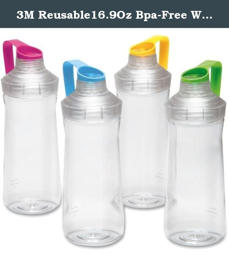 3M Reusable16.9Oz Bpa-Free Water Bottles (2 Bottles). Filtrete Standard Water Bottles are exclusively designed for use with the Filtrete water station water filtration system. Bottles are top rack dishwasher safe, BPA-free and include a leakproof cap. Slim design allows the bottle to fit in most vehicle beverage holders. Each bottle holds up to 16.9 ounce (500 ml). Threaded, multicolored caps let you color-code according to use or individual. 2 Pack Capacity: 16.9 ounce (500 ml) Standard...