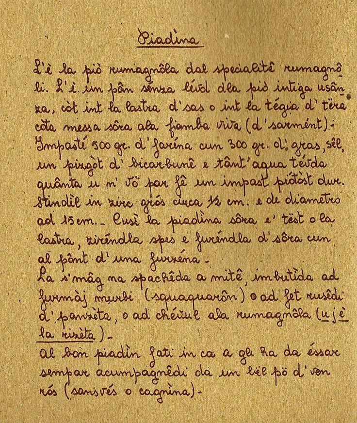 PIADINA, la ricetta in dialetto romagnolo