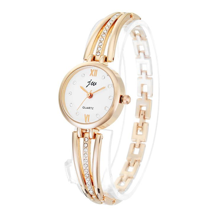 JW 3512 Fashion Round Dial Rhinestones Alloy Lady Bracelet Bangle Women Dress Quartz Watch at Banggood