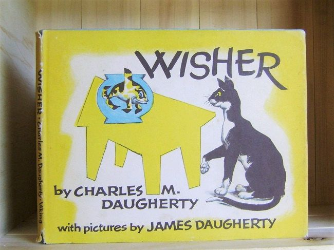 Wisher 1960 Vintage Children's Book by Charles Daugherty Illustrated by James Daugherty Picture Books First Edition Cats Fish Wishes by CrookedHouseBooks on Etsy