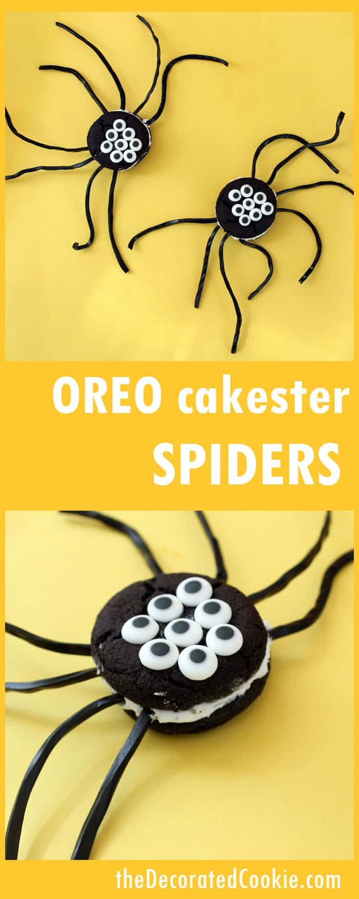 Oreo Cakester spiders -- EASY fun food for Halloween
