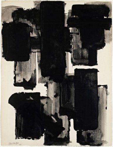 Pierre Soulages, «Brou de noix sur papier, 65x50 cm, 1955»