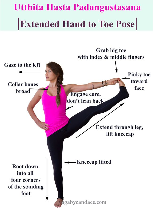 Extended Hand To Big Toe Pose.  You can hold this pose longer by supporting the raised-leg foot on the top edge of a chair back (padded with a blanket). Set the chair an inch or two from a wall and press your raised heel firmly to the wall.