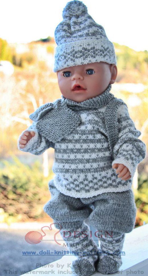 Stricken Sie niedliche Puppenwinterkleidung für Baby Born, der norwegischen Tradition entsprechend