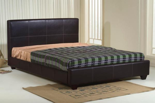 Bedworld Discount Stanton Brown Faux Leather Bed Frame Double 135cm Stanton Brown Faux Leather Bed Frame is a brown finish faux leather bed available in 4'6ft and 5ft. Part of our faux leather beds collection it comes with wooden slats to support any type of mattre http://www.comparestoreprices.co.uk/bedroom-furniture/bedworld-discount-stanton-brown-faux-leather-bed-frame-double-135cm.asp