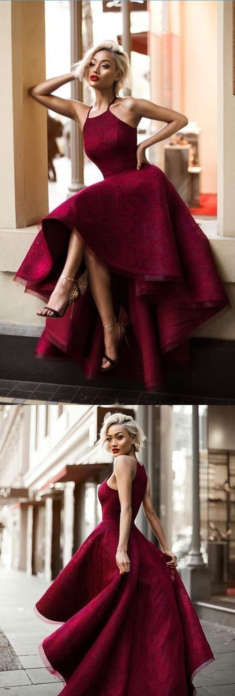 Lace prom dress, Asymmetrical prom dress, ,burgundy prom dress, simple prom dress 0112