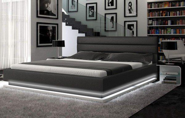 Infinity Contemporary Bedroom Set Modern Platform Bed Leather