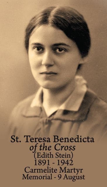 "Celebrating the Memorial of St Edith Stein/St Teresa Benedicta of the Cross – Martyr of Auschwitz – August 9 #pinterest #stedithstein In his homily at the canonization Mass, Pope John Paul II said: ""Because she was Jewish, Edith Stein was taken with her sister Rosa ............"