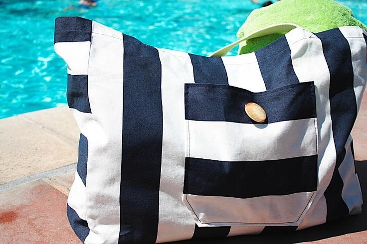 I made this bag for me, my MIL, and two SILs. The bag is SUPER easy to make and perfect for the beach/pool!
