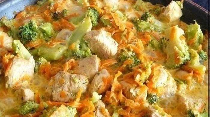 Курица с брокколи и морковью, тушеная в сливках Курица с брокколи и морковью…