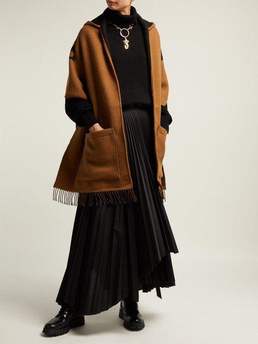 Helene Logo Intarsia Wool Blend Hooded Scarf Burberry