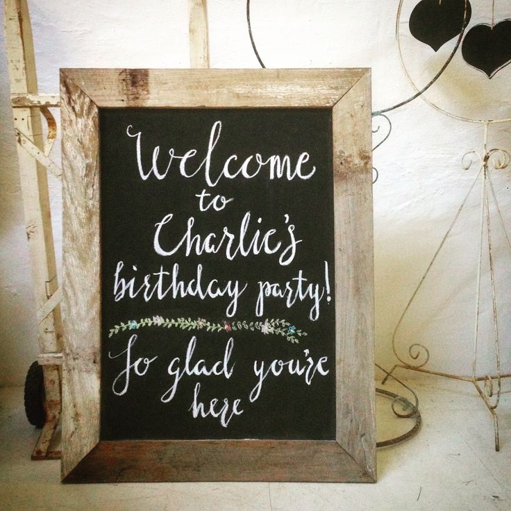 Chalk Birthday Sign - custom sign writing