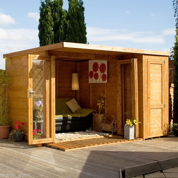 10x8 Contemporary Summerhouse + Side Shed New 10ft x 8ft Summerhouses Shiplap