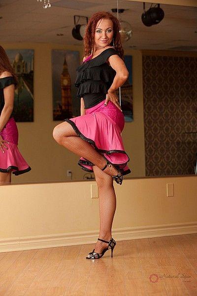 Natural Spin Signature Dance Tops(Short Sleeve):  LT40_Black