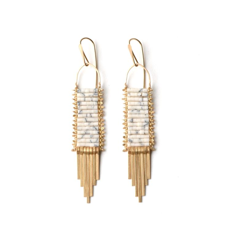 """White Turquoise beads on brass chain.14k Gold Fill Ear wires.length: 3"""" width: .5"""""""