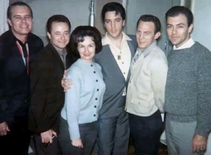 "Millie Kirkham  (June 24, 1923 - December 14, 2014), can be heard singing soprano on Elvis' records w/Jordanaires. Millie, joined Elvis' in LV before Kathy Westmoreland. Millie, was known as the ""Nashville soprano"" for the ""Nashville Sound"" on numerous hit records and became affectionately known as the fifth member of the Jordanaires.   That's Millie on Elvis' Blue Christmas'  rendition."
