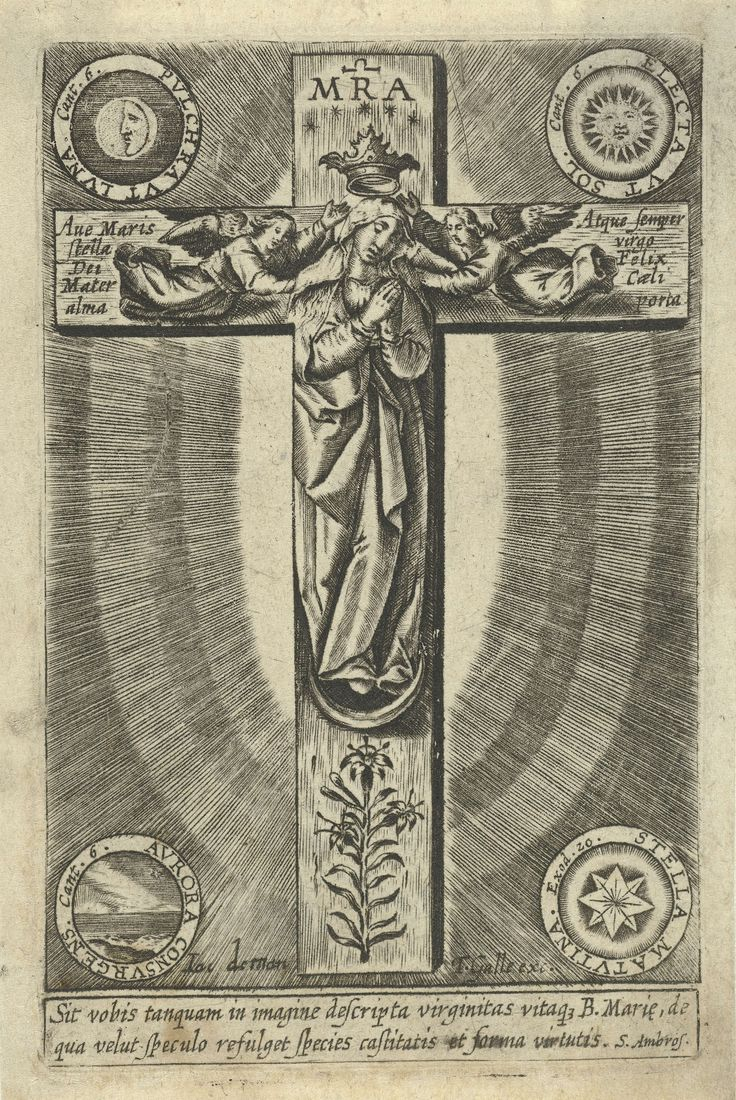 Maria staand op de maansikkel tegen een kruis, Jacobus de Man (I), 1676 - 1719