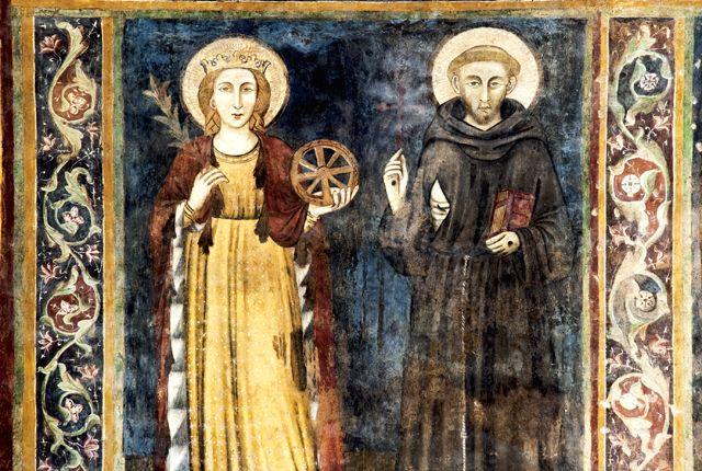 Vallo di Nera (PG). Chiesa di Santa Maria Assunta. Santa Caterina d`Alessandria e San Francesco