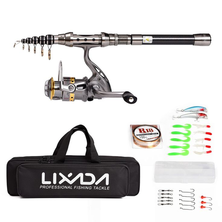 Only US$27.75, 2.1 m Lixada Telescopic Fishing Rod and Reel Combo Full Kit Spinning - Tomtop.com