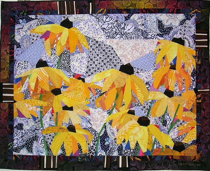 'Brown-eyed Susans'. Quilt made by Ruth B. McDowell