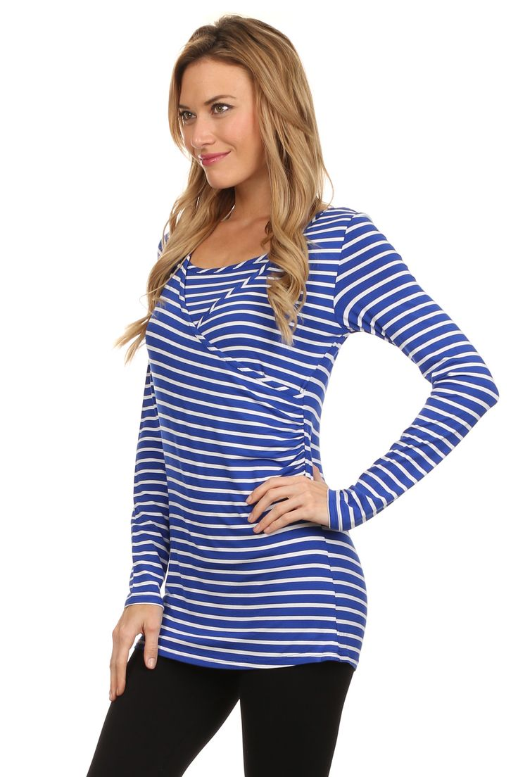 Bethany Nautical Striped Crossover Nursing Top