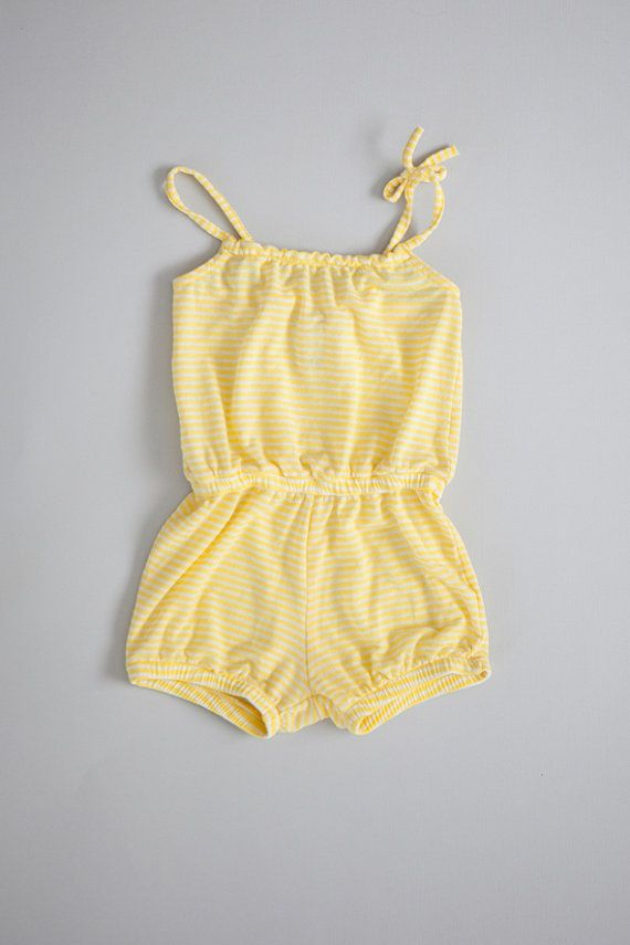 Stripes romper, yellow girls summer outfit, cotton sunsuit, baby jumper, girls clothing, toddler overall one piece, baby birthday gift