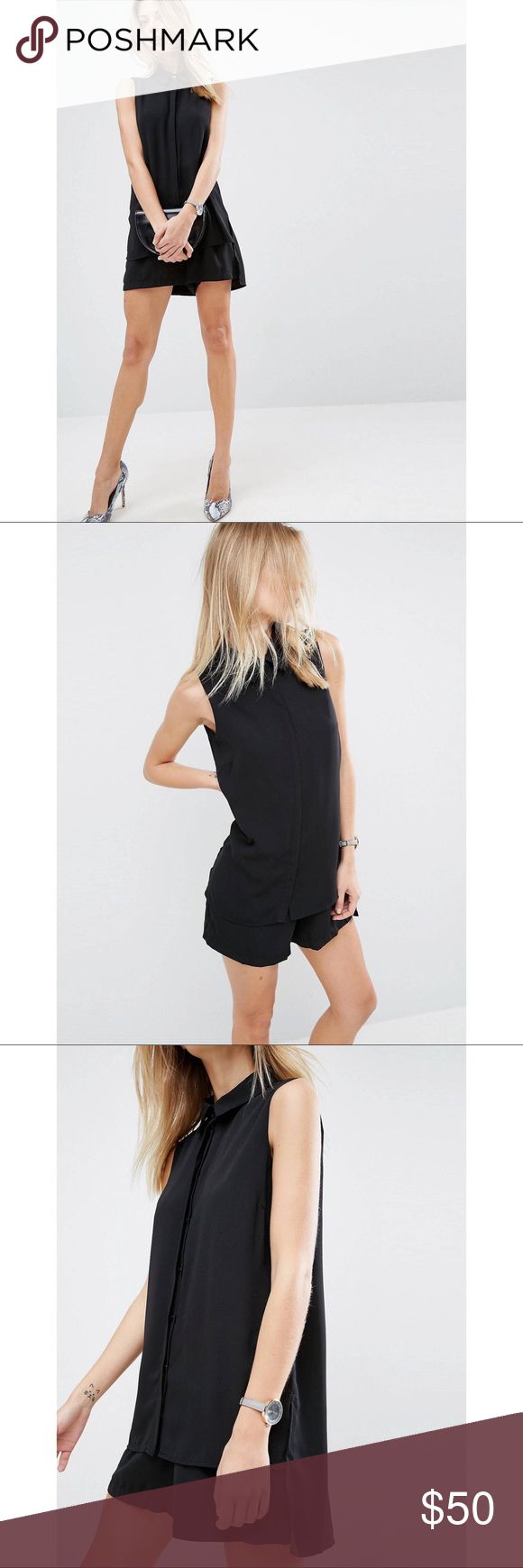 """ASOS """"Minimal Romper with Shirt Detail"""" ▪️A very chic and comfy romper from ASOS▪️ Size is SMALL and fits true to size. FYI I am 5' 2"""" and about 125 lbs and it fit well.  New without tags, worn only once and dry-cleaned. Asos Other"""