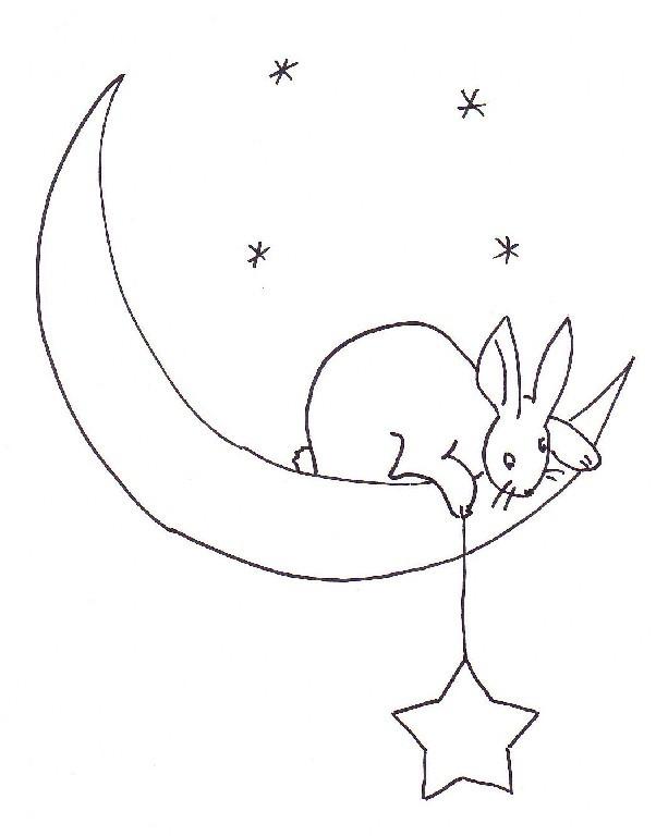 Moon Rabbit Embroidery Transfer