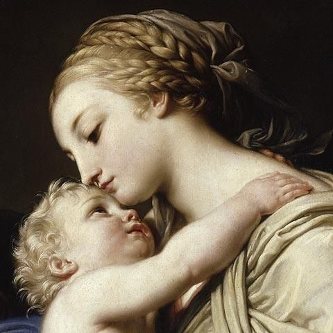 Pompeo Batoni - Madonna and child Such a sweet painting, truly captured a loving moment between mother and child.