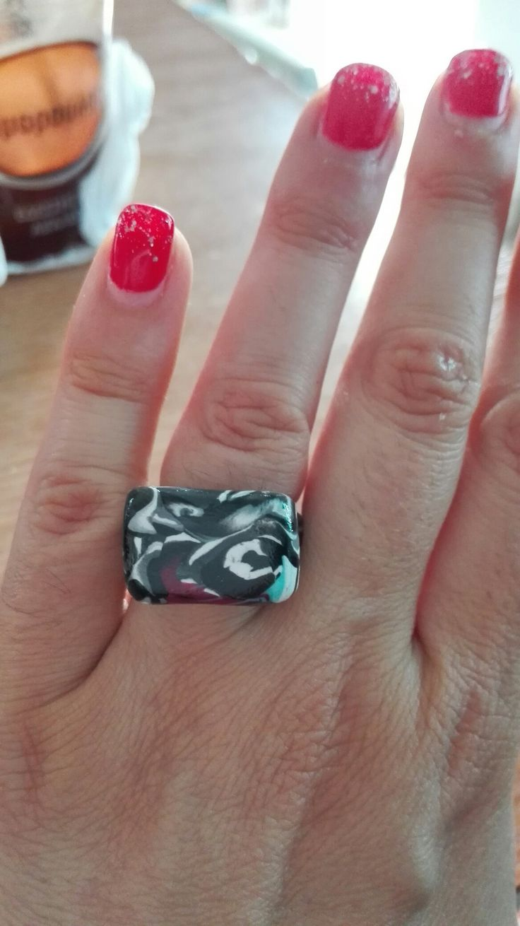 Polymer clay ring from leftovers