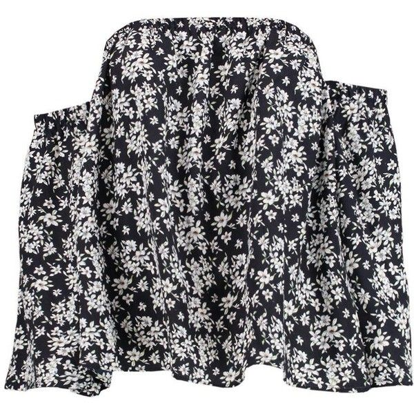 Boohoo Frankie Floral Bardot Top ($20) ❤ liked on Polyvore featuring tops, off shoulder crop top, floral off shoulder top, floral crop tops, floral tops and cropped tops