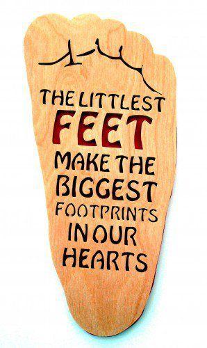 Nursery Wall Decor Little Feet Make Big Footprints Handcrafted Wood pink Any Age Unisex | KevsKrafts - Woodworking on ArtFire