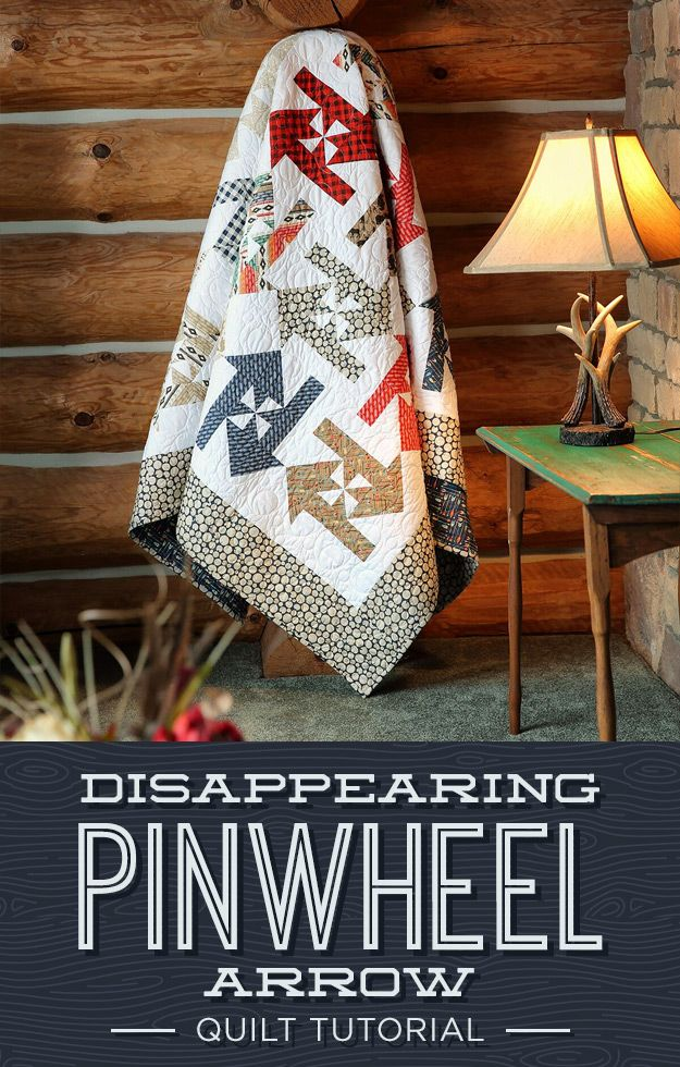 """Jenny demonstrates how to make a Disappearing Pinwheel Arrows Quilt using 10 inch squares of precut fabric (layer cakes). We used High Adventure 10"""" Stackers by Design by Dani for Riley Blake."""