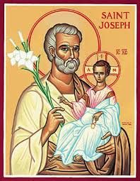 St. Joseph with the Child Jesus. Joseph is depicted here as an elderly man. There is a tradition, held especially among the Orthodox (although it is reflected in Roman Catholic art up to the Renaissance) that Joseph was an elderly widower when he was betrothed (not wedded- that never occurred) to Mary. When he found her to be with child, he was on the verge of sending her away, when an angel appeared to him in a dream, affirming her virginity and her fidelity.