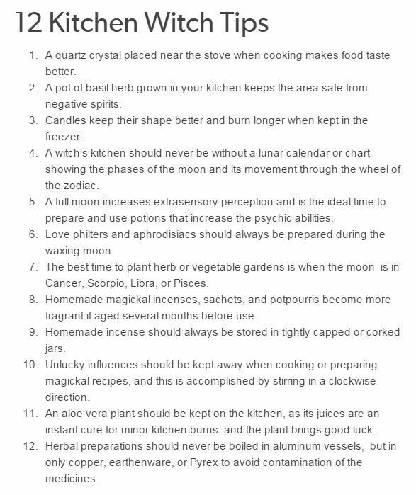 Kitchen Witch's home tips - Pinned by The Mystic's Emporium on Etsy