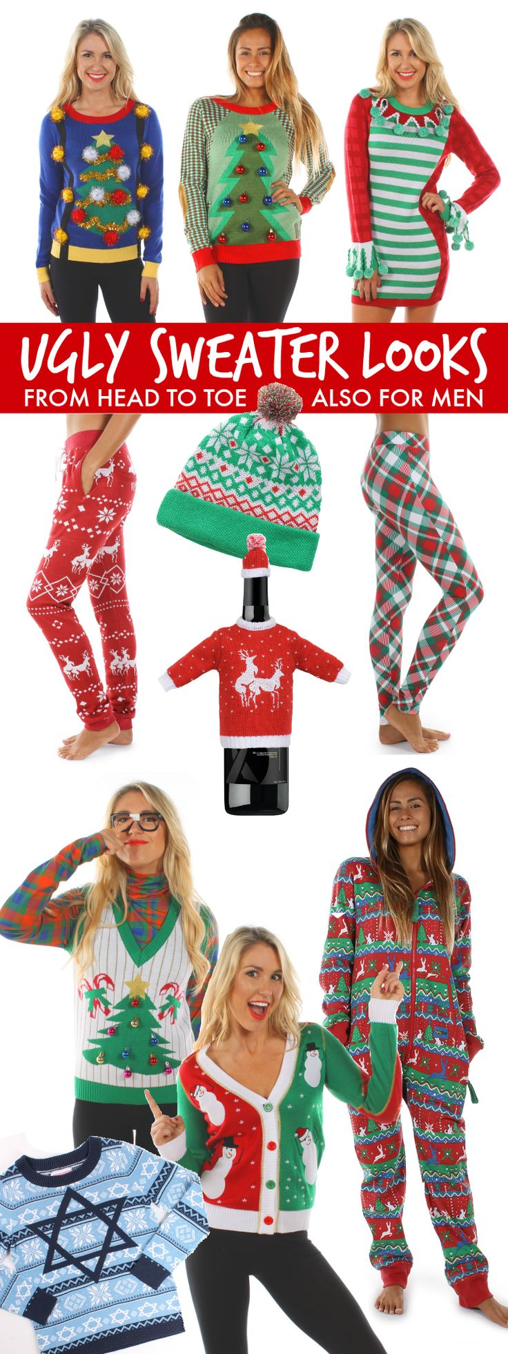Christmas dress ideas for office party - Be Hot Hip And Hilarious With These Ugly Christmas Sweater Party Looks From Head To