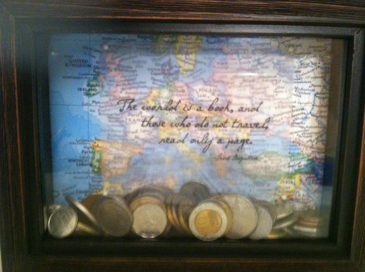 Shadow box with map and quote backing used to display European coins from my travels
