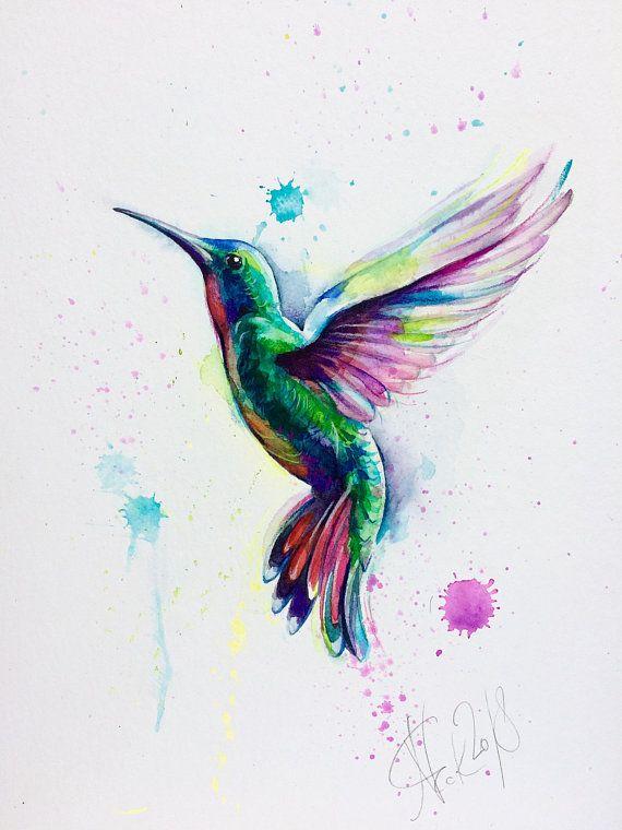 ORIGINAL Aquarell Kolibri, Vogel Bild, Kolibri Aquarell, Illustration, Vogelkunst, Aquarellmalerei, Geschenk, Wandkunst