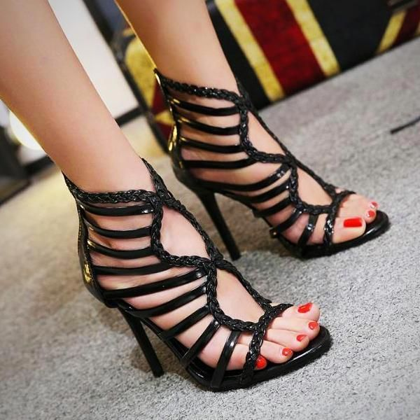 f6d98a5b9a Thin High Heels Shoes Women's Peep Toe Cut Outs Pumps Summer Gladiator  Sandals #Stilettoheels
