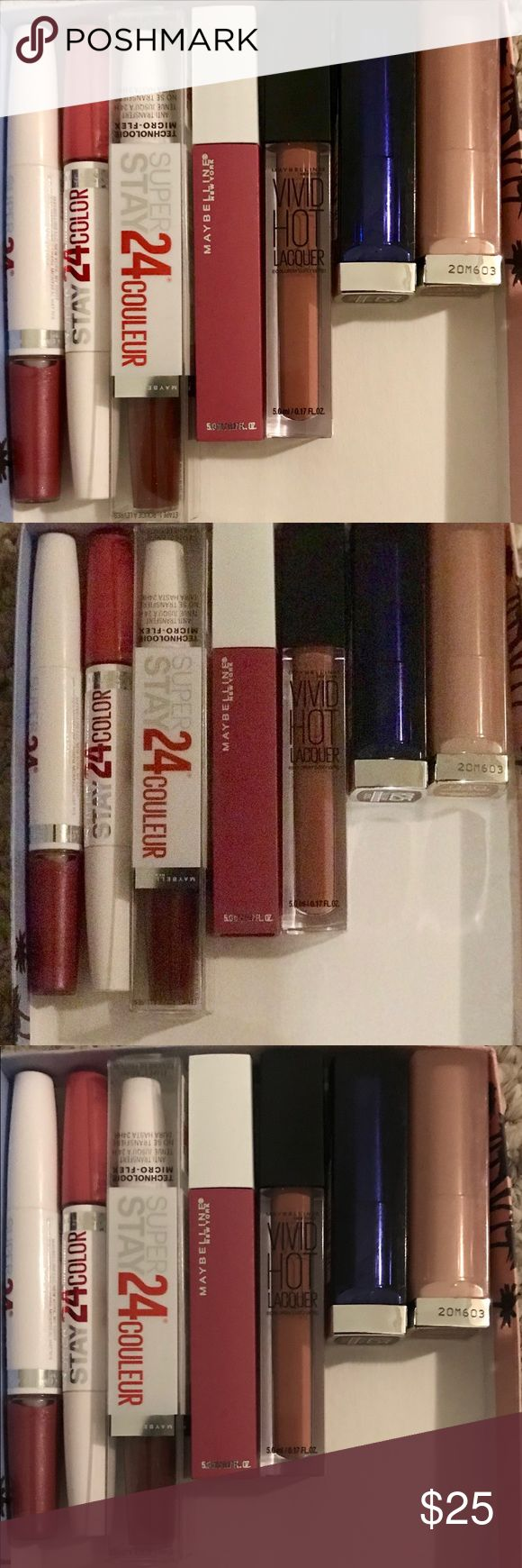 Maybelline's Super Stay Couleur, Vivid Lacquer Ect Some of Maybelline's BEST lip products  Three 24 Hour Super Stay Lip Couleur with micro flex technology  One Vivid HOT Lacquer  Two Lipsticks  One Maybelline Matte Lip Lacquer If interested can give exact colors Maybelline Makeup Lipstick