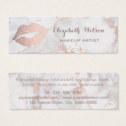 Professional Makeup Artist pink lips on marble Mini Business Card - beautiful gift idea present diy cyo