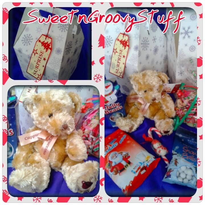#Teddy n Treats #Surprise Box This #Sweetngroovystuff gift is a #festive box containing:  Chocolate Kinder Minis, #Chocolate #Snowballs, #Jelly beans, Pick 'n' Mix #Sweet Bomb, #candy cane and a #Gorgeous #Russ Berrie 'Cappuccino' #Bear, with #gift tag.