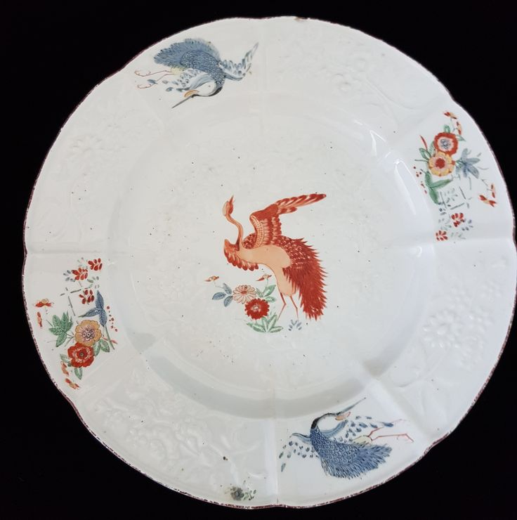 Red Crane plate. Chelsea C1756.