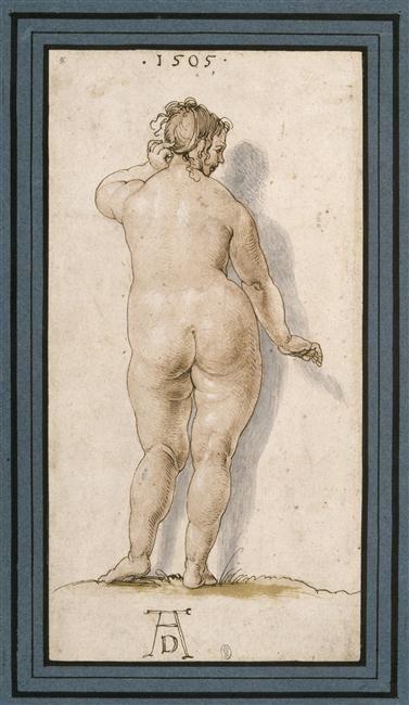 Albrecht Dürer, 'Une grosse femme nue, de dos', 1505.