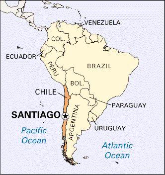 Este mapa representa donde Pablo Neruda murio. El murio en Santiago, Chile.