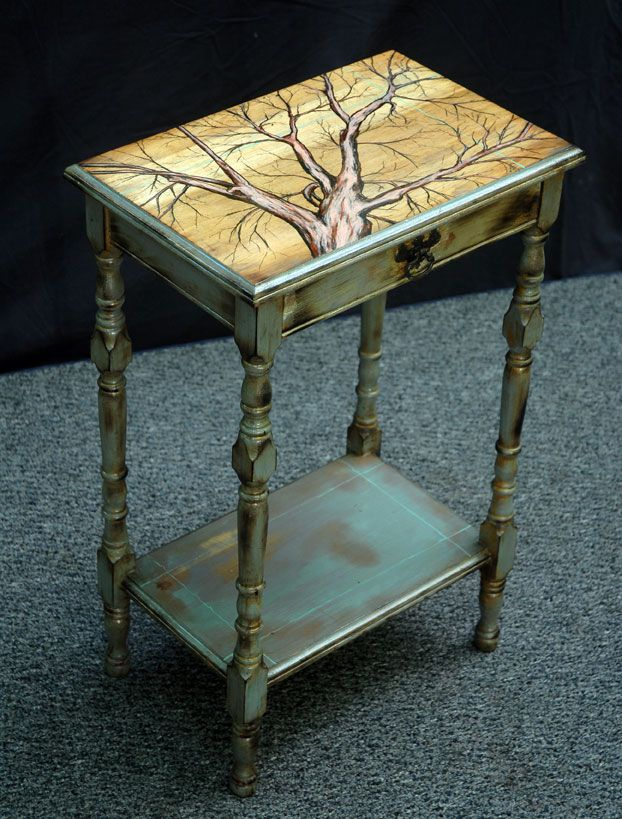 Upcycled Furniture. Artfully painted top and glazing over the blue paint.
