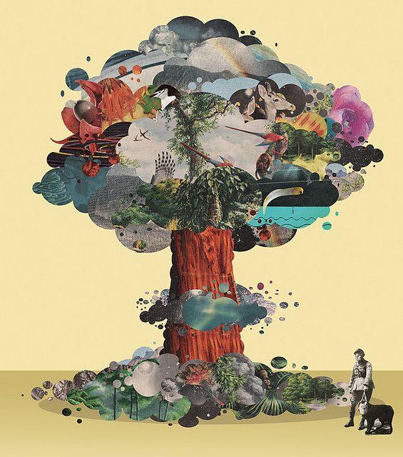 collage, een kunstvorm die gebruik maakt van uitgeknipte of gescheurde stukken papier die met lijm op steviger papier of schildersdoek geplakt worden