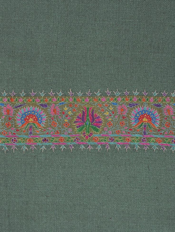 Buy Sea Green Kashmir Pashmina Exquisite Hand Woven Embroidered All-around Border Shawl by Aditi Collection Online at…
